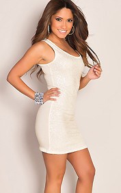 Sequined Sleeveless Mini Jersey White Party Dress