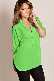 Vibrant Green Casual Chic Flowy Solid Color Half Sleeve Sheer Top