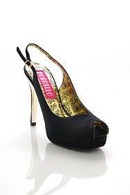 Classic Black Peep Toe Sling Back Platform Sandal