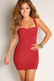 Dark Red Sexy Seduction Solid Color Ruched Sleeveless Wide Strap Club Dress