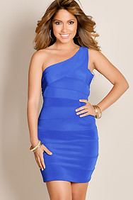 Royal Blue Dazzle And Wow One Shoulder Wide Strap Textured Knit Bandage Club Dress