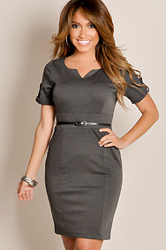 Sexy Gray Uptown Chic Scoop Neck Belted Waist A-line Dress
