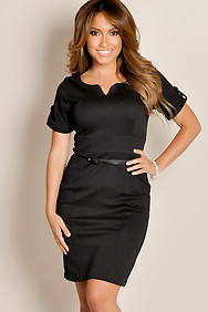 Black Retro Glam Solid Color A-Line Textured Knit Cocktail Dress