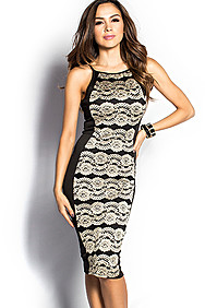 """Lysandra"" Black and Tan Lace Knee Length Sleeveless Optical Illusion Dress"