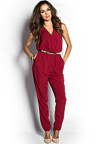 """Diana"" Cranberry Red Relaxed V Neck Jumpsuit with Gold Belt"