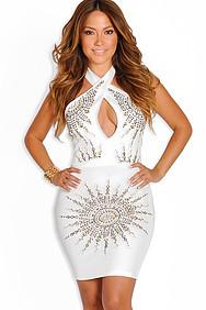 """Keira"" Ivory Studded Halter Dress"