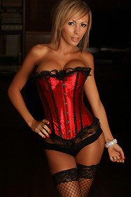 Corset Red Two Piece with Back Lace and Ribbon Trim Corset Tops