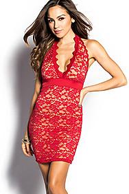 """Yasmina"" Red Plunging Neckline Lace Halter Dress"