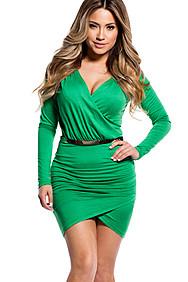 Sexy Green Cross-Over Long Sleeve Dress