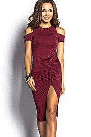 """Aubrie"" Burgundy Short Sleeve Cold Shoulder Dress"