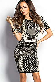 """Kiana"" Black and Tan Shimmery Tribal Print Sweater Dress"